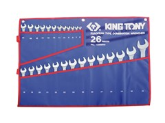 Набор комбинированных ключей, 26 предметов 6-32 мм чехол из теторона,  king tony 1226mrn