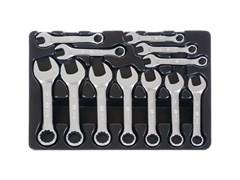 Набор укороченных комбинированных ключей, 12 предметов ложемент, king tony 9-1282mr