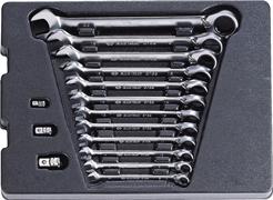 Набор комбинированных ключей с трещоткой,  15 предметов king tony 9-10215mr