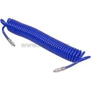 """МАСТАК Шланг пневматический спиральный высокого давления 10х15 мм, 15 м, полиуретановый, резьба 1/4"""""""
