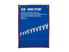 Набор комбинированных удлиненных ключей, 10-19 мм, чехол из теторона, 10 предметов KING TONY 12A0MRN