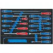 Набор отверток, съемник клипс и гибкий магнит, ложемент, 20 предметов KING TONY 9-31920MRV