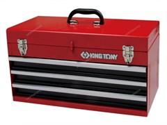 Ящик инструментальный, 3 ящика и отсек, красный